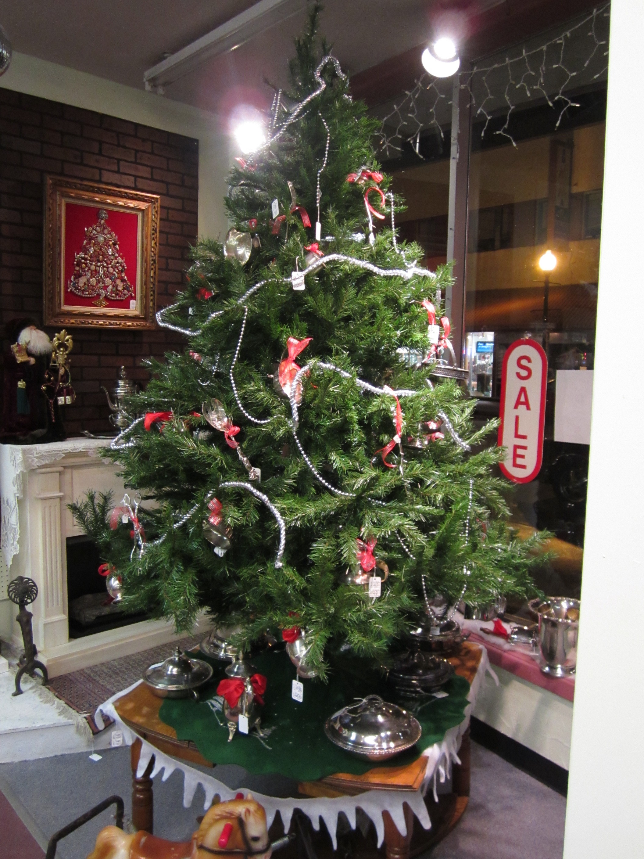 silver plate christmas tree lestuff antique mall - Silver Plated Christmas Tree Decorations